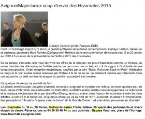 revue presse HIVERNALES carlson
