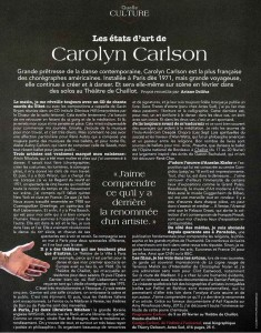 Les Etats d'Art de Carolyn Carlson par Arianne Dollfus in Point de Vue - 27 janvier 2016