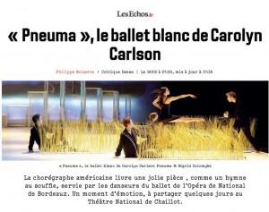 """Pneuma """"le ballet blanc de Carolyn Carlson"""" par Philippe Noisette, dans Les Echos"""